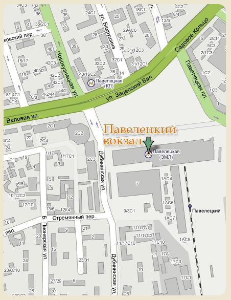 Карта проезда до Павелецкого вокзала
